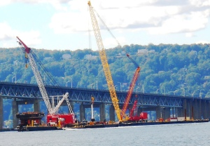 Construction machinery near the westbound span of the Tappan Zee Bridge/Courtesy of Blair Johnson