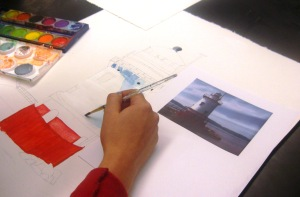 Student painting a watercolor picture of the historic Tarrytown Lighthouse/Courtesy of Andrea Harrison