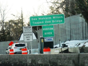 Familiar sign at the Rockland approach, and its counterpart in Westchester/Courtesy of Blair Johnson