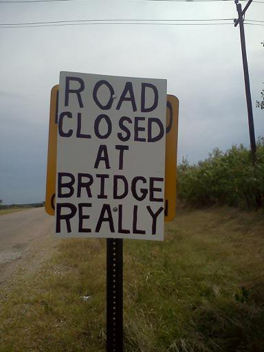 road closed at bridge