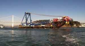 Tug boat Lauren Foss (extreme left) towing the crane on day one of its 6000-mile voyage (actually 5224 nautical miles = 6011 statute miles)/Courtesy of Capt. Terry O'Neil