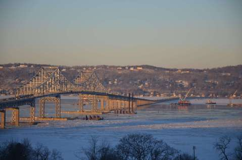 Sunlight bathed the Tappan Zee bridge shortly before the I Lift NY's arrival at The Port Authority of New York and New Jersey./EarthCam® construction camera in Tarrytown
