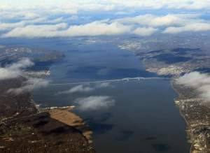 Aerial view of the Tappan Zee Bridge and southern Hudson Valley region/ Photo by Bruce Bennett/Getty Images