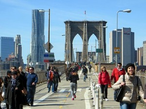 The Brooklyn Bridge is free to the roughly 150,000 vehicles and pedestrians crossing it daily./Courtesy of Claude Scales