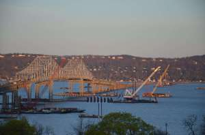 The bridge and equipment bathed in gold minutes after sunrise/EarthCam® construction camera in Tarrytown