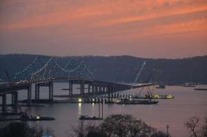 Sunset on the river illuminated from the fire sky/EarthCam® construction camera in Tarrytown