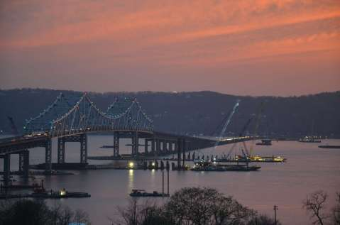 Sunset on the river illuminated from the fire sky/EarthCam® construction camera TTown