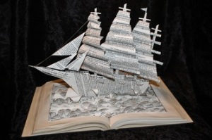 Yacht book sculpture and photograph by Jodi Harvey-Brown