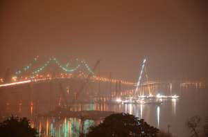 Colorfully-Illuminated post-midnight silence on the river/EarthCam® construction camera in Tarrytown