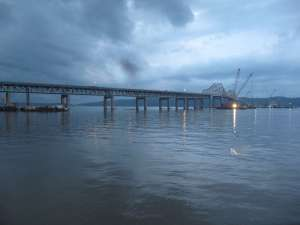 Post-storm sunset turns sky and river numerous shades of blue/EarthCam® construction camera in Tarrytown