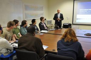 Special project advisor Brian Conybeare addressing UB engineering students/Photo by J. O'Connor