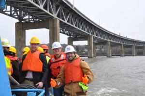 Dr. Anthony Tessari, who teaches a course in bridge foundations, was able to show students a pile driving operation from a boat