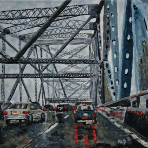"Encaustic painting: ""Rainy Afternoon on the Tappan Zee Bridge""/© Heather Leigh Douglas, 2012"
