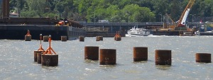 Steel piles are ready to be capped/© Janie Rosman 2014