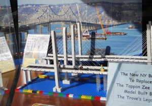 Juxtaposing LEGO® Build Club model of the New NY Bridge and photo of the Tappan Zee Bridge/© Janie Rosman 2014