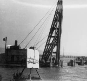 """Painter's easel and construction crane, Grand View, NY,"" photographed in 1954 by John J. Rooney, Jr./The Nyack Library Local History Image Collection and HRVH"