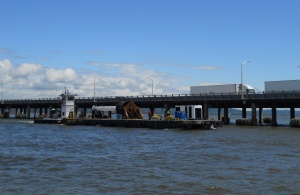 Barge near Rockland side of TZ Bridge/© Janie Rosman 2014