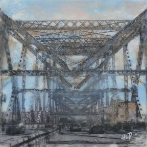"Tribute to the Tappan Zee Bridge in encaustic painting: ""On the Road to Extinction""/© Heather Leigh Douglas, 2014"