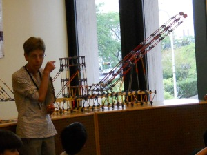 Terry Rabideau explains the I Lift NY super crane at The Trove at White Plains Public Library/© Janie Rosman