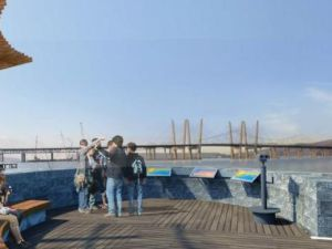 Viewing area at RiverWalk Park in Tarrytown will have benches and monoculars/Photo: NYS Thruway Authority