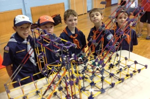 Cub Scouts Pack 6 Crestwood with their K'NEX model of the I Lift NY super crane/New NY Bridge Outreach