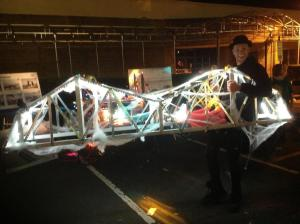 Seen on the street in Nyack last weekend, the Tappan Zee Bridge was aglow with lights and gauze/NNYB Outreach