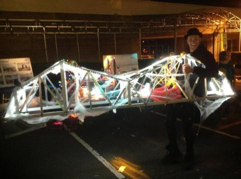 Seen on the street in Nyack: the Tappan Zee Bridge aglow with lights, gauze/Credit: NYSTA