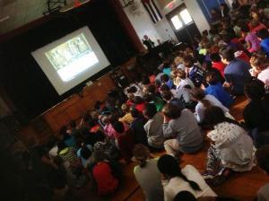 Kids at Upper Nyack Elementary School peek at peregrine falcons Skylar, Shea and Nina/NNYB Outreach
