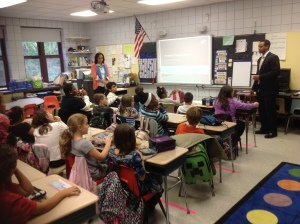 Community Relations Specialist Dan Marcy speaking to 3rd graders at Liberty Elementary School/NNYB Outreach