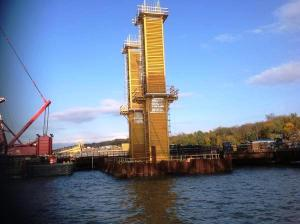 Two of the new bridge's 86 vertical steel towers seen near the Westchester approach span/NNYB Outreach