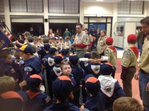 Scouts learn about the new bridge before starting to build their individual section of a scaled model/NNYB Outreach