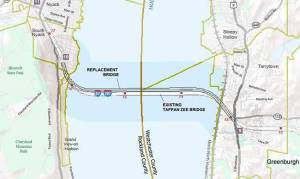 Location of the twin spans that will be built north of the existing TZB/Courtesy of the New NY Bridge