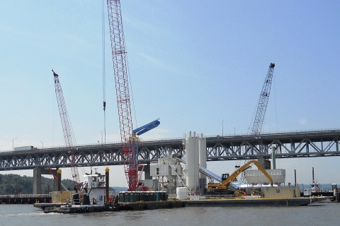 Floating concrete batch plant arrived last summer, ready to work/© Janie Rosman 2014