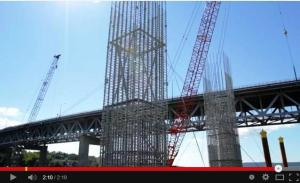 Pier skeleton: galvanized steel bar cages/New NY Bridge
