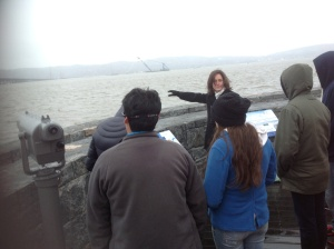 ARUP Senior Infrastructure Manager Martha Gross updates students about the project and the crane/NNYB Outreach