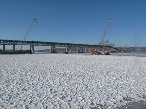 Frozen Hudson along Westchester shoreline this a.m./ EarthCam® construction camera