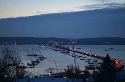 Blue hues: pre-sunrise sky, river/EarthCam® construction camera in Upper Grandview