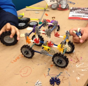 Teamwork plus creativity yields a cool model K'NEX jeep/TR