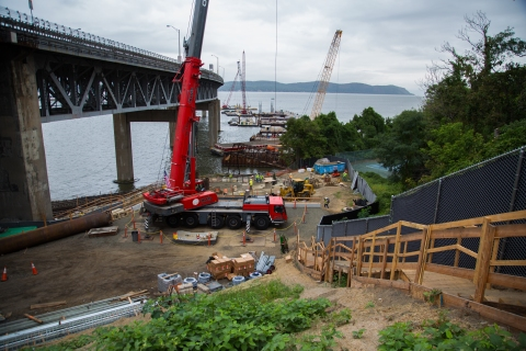 Preparing pier 43, part of Westchester landing/Photo Credit: NYS Thruway Authority