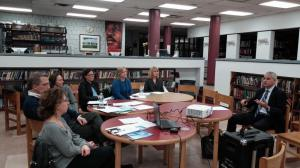 Special project advisor Brian Conybeare discusses bridge timeline with members of Nyack HS PTSA/NNYB Outreach