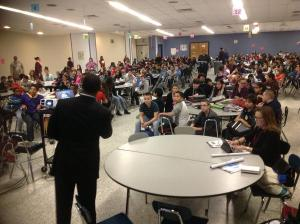 Community Relations Specialist Dan Marcy answers young engineers' post-presentation questions/NNYB Outreach