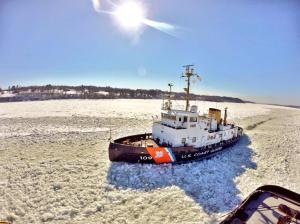 USCG Cutter Sturgeon Bay on frozen Hudson River/USCG