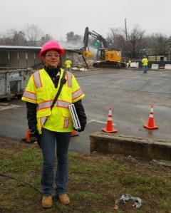 Casabella Contracting Pres. Marcela Pignataro at barracks demolition Friday/© Janie Rosman