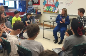 NASA Astronaut Capt. Kathryn Hire speaks with students about her experiences in space/Photo by Krystel Perez