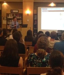Making a presentation at MHS/Photo: Meg Kaufer