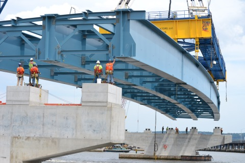 Culmination of seven-hour process: three beams lowered onto piers near Rockland/NYSTA