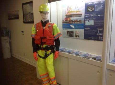 Dressed for safety in Tarrytown Outreach: gear, hat, goggles, boots/NNYB Outreach