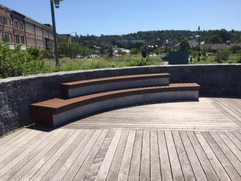 Raised benches at Tarrytown viewing area: unobstructed project gazing/NNYB Outreach