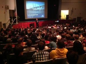 Special project advisor Brian Conybeare explains the project's 3rd year to Nyack High School students/NYSTA