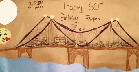 EIght--year-old Kate R. in Rockland captured the bridge's birthday and essence perfectly.